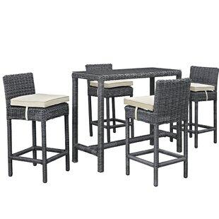 Brayden Studio Keiran 5 Piece Bar Height Dining Set with Cushion