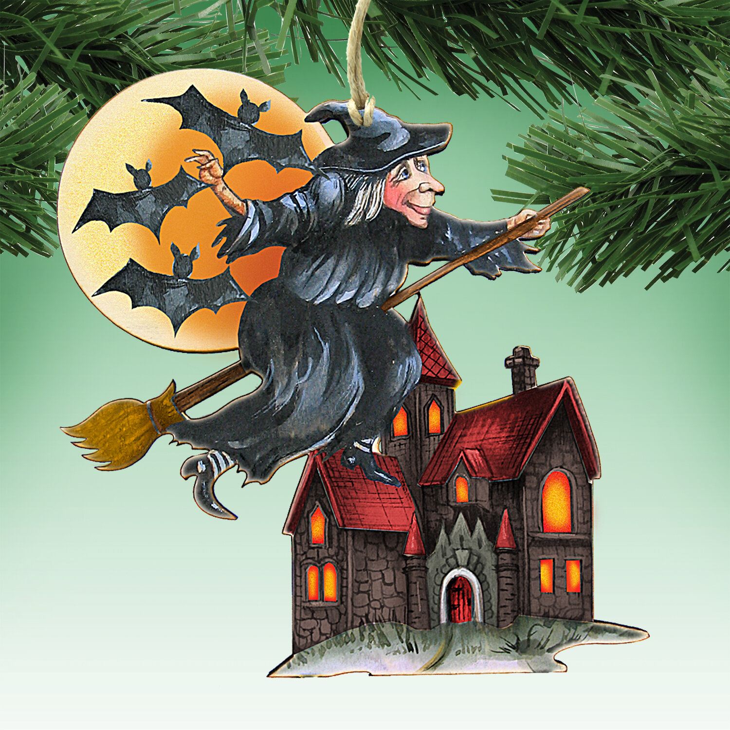 The Holiday Aisle Witch Shaped Wood Ornament Wayfair