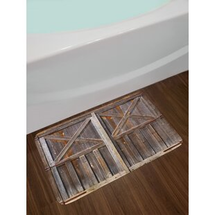 Old Wooden Non-Slip Plush Bath Rug