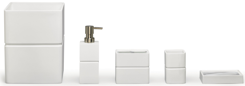 Moda At Home Alabaster Resin 4-Piece Bathroom Accessory Set ...