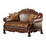Mueller 64 Wide Leather Match Rolled Arm Loveseat by Astoria Grand