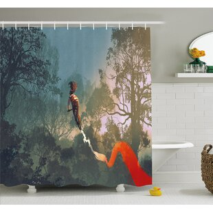 Cyclist Riding Bike with Track in Air Foggy Park Extreme Sports Shower Curtain Set