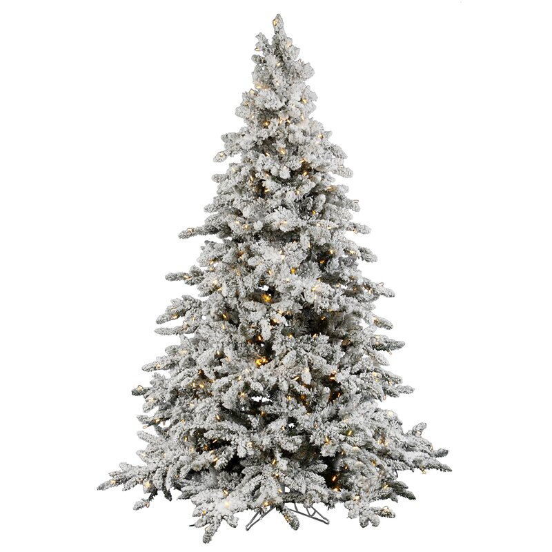 detailed look 3af62 62cd4 Flocked Utica White Fir Artificial Christmas Tree with Clear White Lights