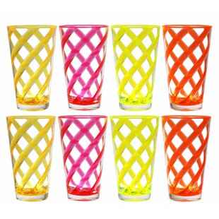 Caterina Twist Ice 8 Piece 22 oz. Plastic Every Day Glass Set