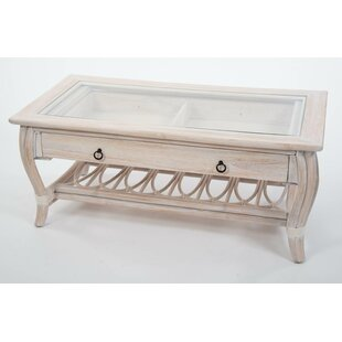 Bay Isle Home Presley Glass Top Coffee Table with Drawer