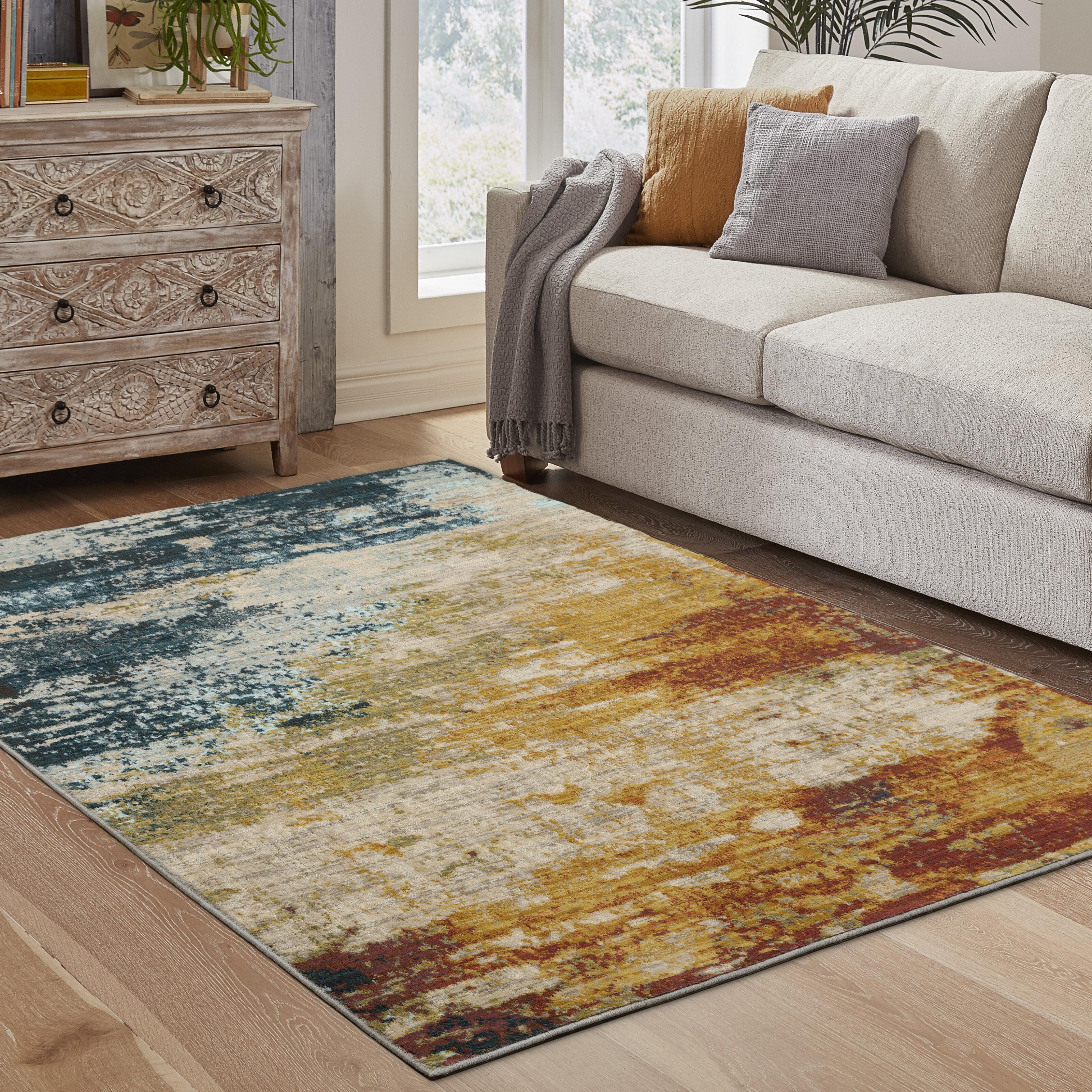 Trent Austin Design Haugan Abstract Orange Blue Area Rug Reviews Wayfair