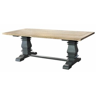 Affordable Price Pannell Balustrade 7 ft. Solid Wood Dining Table with Slatted Top ByOne Allium Way