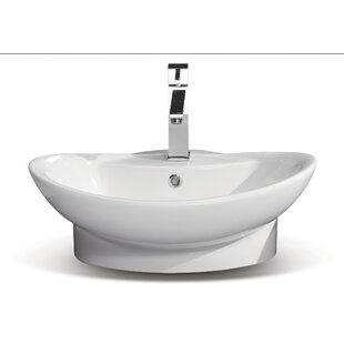 CeraStyle by Nameeks Rio Ceramic U-Shaped Vessel Bathroom Sink with Overflow