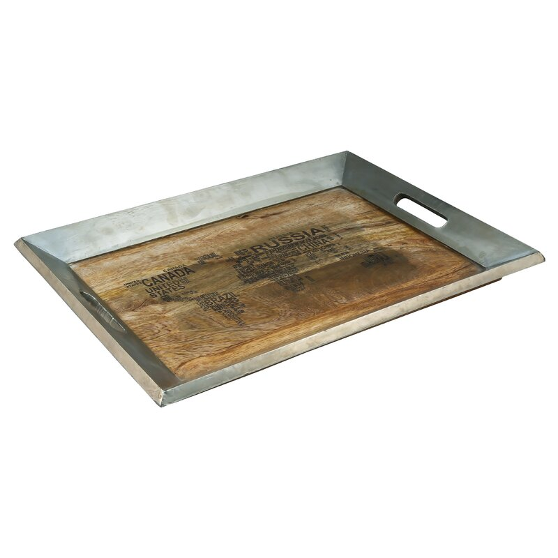 Williston Forge Gruver World Map Typography Serving Tray Reviews Wayfair
