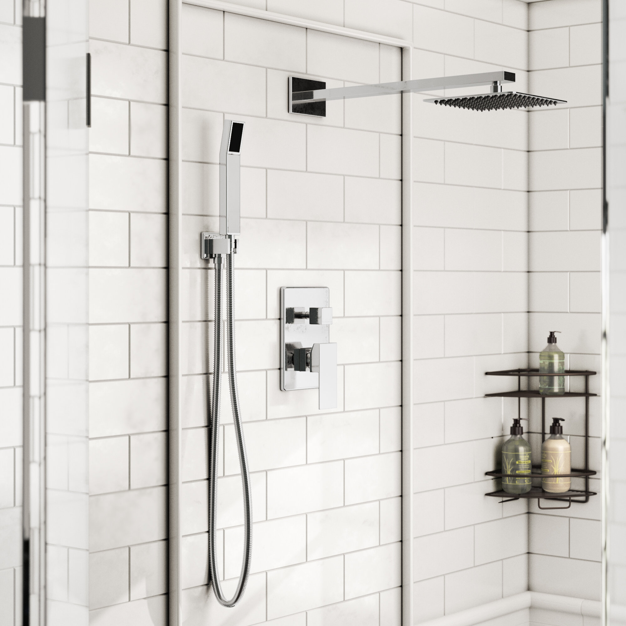 Bath Retro Fit Rain Shower System With Hand Shower Bathroom