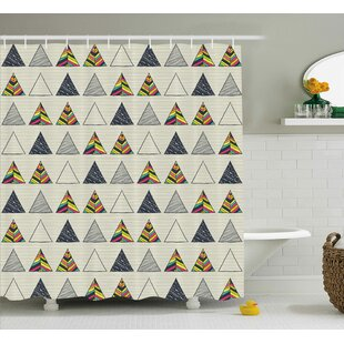 Benfer Abstract Triangle Shower Curtain + Hooks