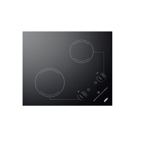Summit CR2B121 115V 2-Burner 21 Radiant Cooktop For Portrait or Landscape Installation In 20 x 16 Cutouts Black
