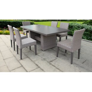 TK Classics Florence 7 Piece Outdoor Patio Dining Set with Cushions