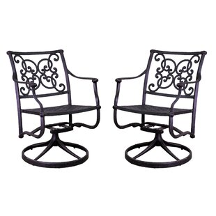 Palmhurst Swivel Patio Dining Chair with Cushion (Set of 2)