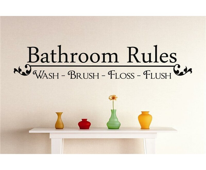 Wall Decal Wall Decor Bathroom Rules Vinyl Wall Decals Wall Quotes Kids Bathroom Decal Bathroom Wall Decal