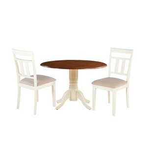 Dahle 3 Piece Drop Leaf Solid Wood Dining Set by August Grove 2019 Sale