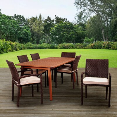 Tyner International Home Outdoor 7 Piece Dining Set With Cushions by Highland Dunes New