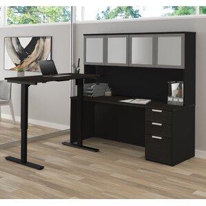 Hartleton L Shape Corner Desk With Hutch