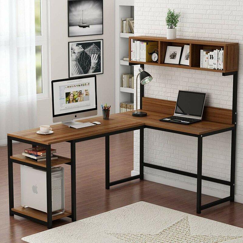 Williston Forge Nekoosa L Shaped Desk With Hutch Reviews Wayfair