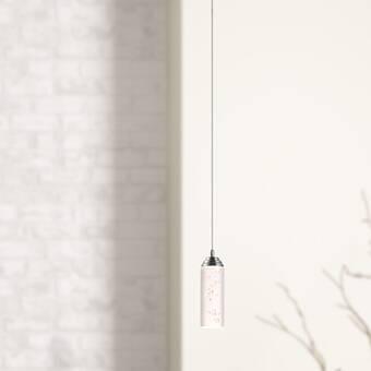 Orren Ellis Thayne 1 Light Single Cylinder Led Pendant With Crystal Accents Wayfair