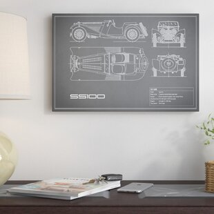 'SS Cars Ltd. (Jaguar) 100' Graphic Art Print on Canvas in Gray ByEast Urban Home