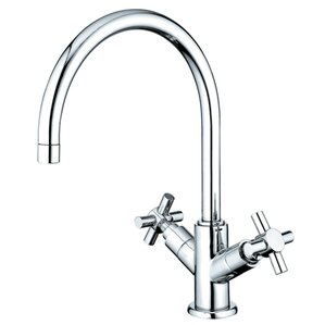 Elements of Design South Beach Double Cross Handle Kitchen Faucet with Plate