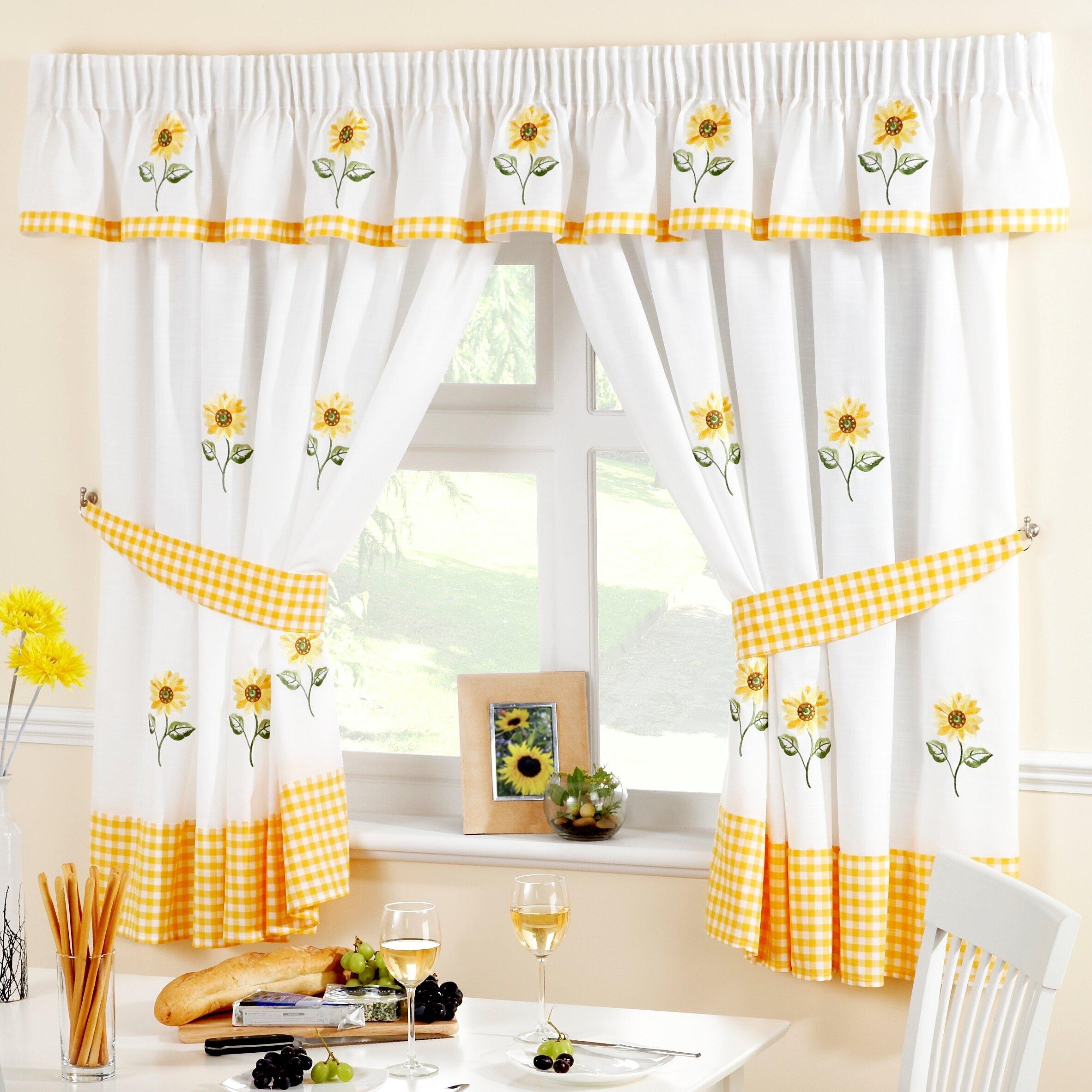 Home Essence Gardine Sonnenblumen mit Ösen (1 Stück)   Wayfair.de