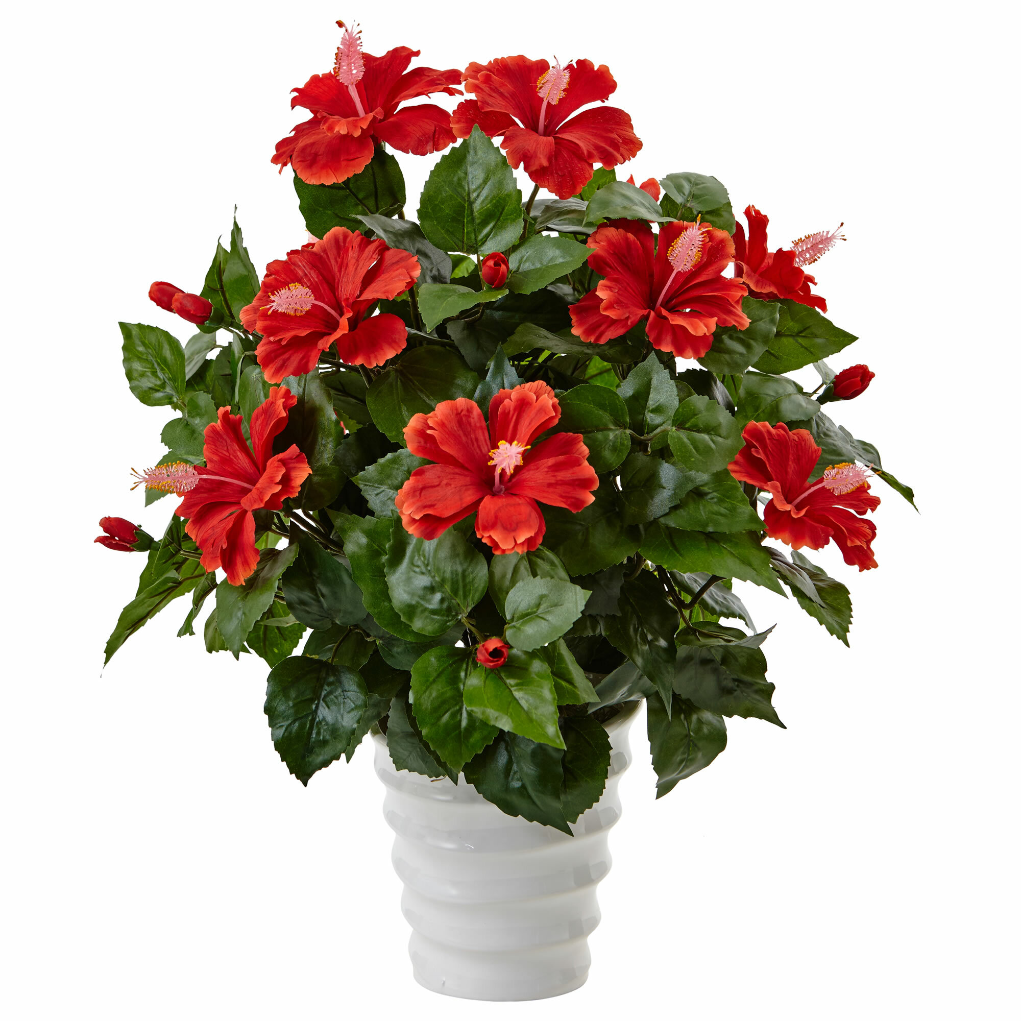 Bay Isle Home Artificial Hibiscus Flowering Plant In Planter Wayfair