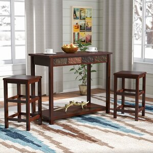 Wolfville 3 Piece Pub Table Set by Loon Peak