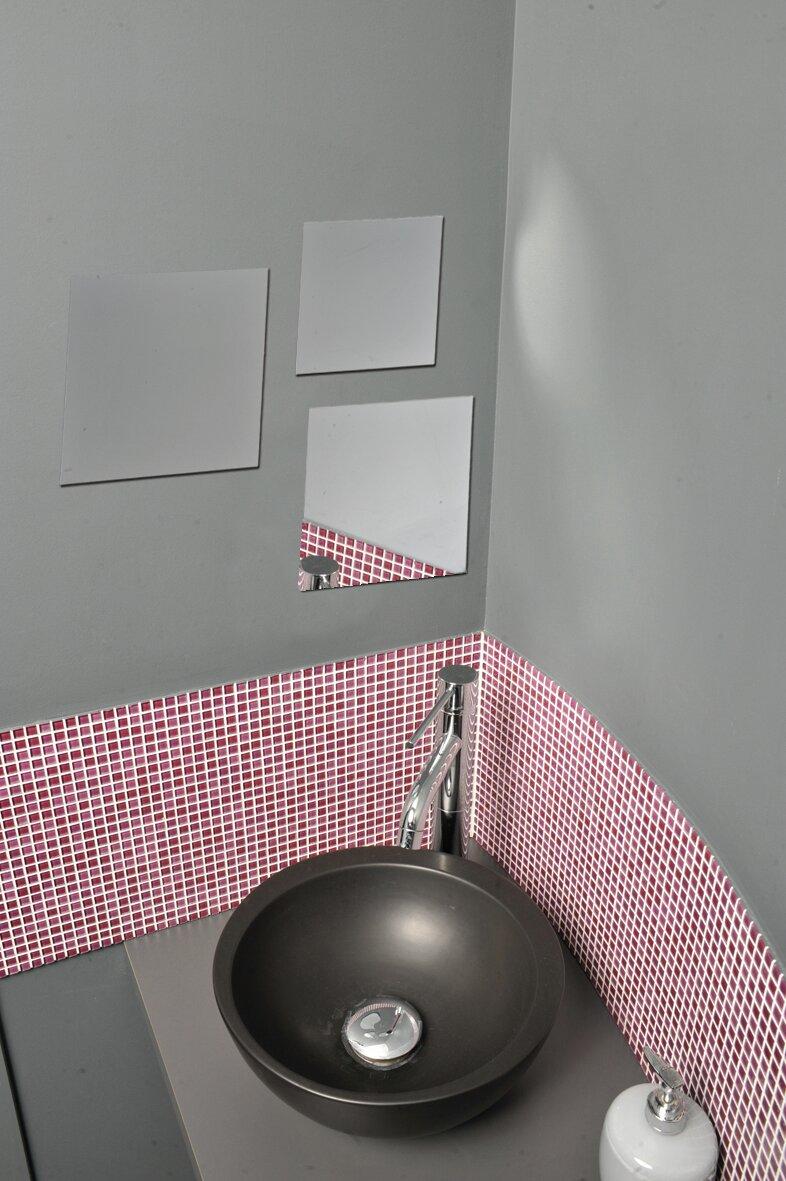 Evideco 3 Piece Decorative Wall Bath Adhesive Square Mirror Set