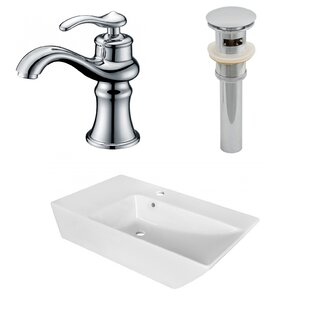 Shopping for Ceramic Rectangular Vessel Bathroom Sink with Faucet and Overflow By American Imaginations