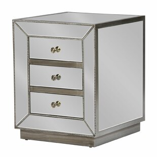 Comparison Hitchcock Mirrored 3 Drawer Nightstand by Rosdorf Park