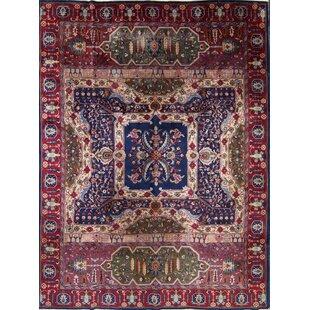 Best Horsholm Agra Oriental Hand-Knotted Wool Red/Black/Blue Area Rug ByBloomsbury Market