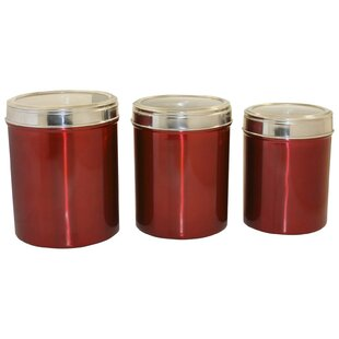 Hueck Stainless Steel 3 Piece Kitchen Canister Set