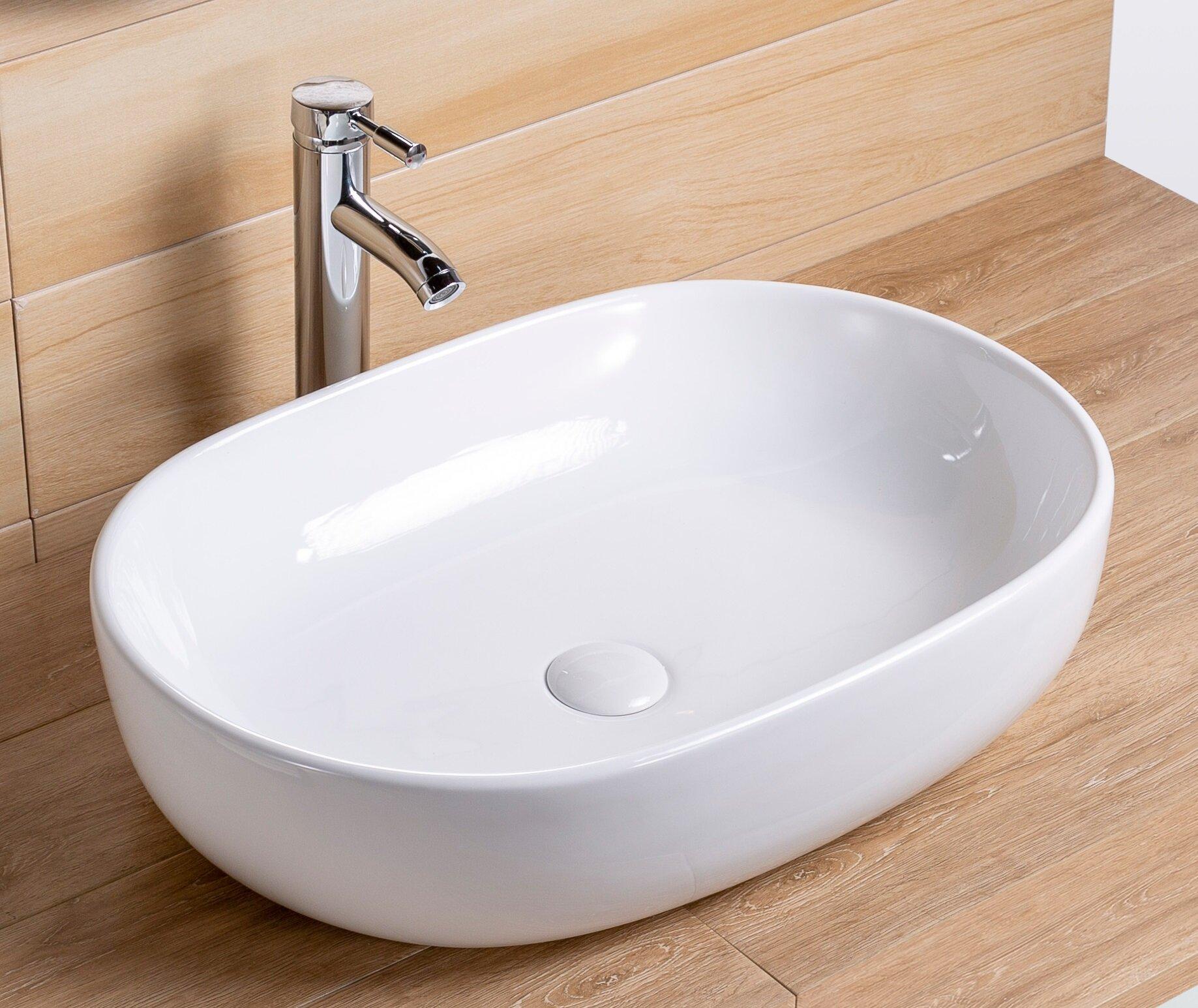 Topcraft White Ceramic Rectangular Topmount Bathroom Sink Wayfair