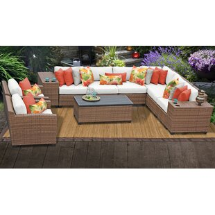 Rosecliff Heights East Village 11 Piece Rattan Sectional Set with Cushions