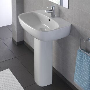 Affordable Moda Vitreous China 20 Pedestal Bathroom Sink with Overflow By Bissonnet