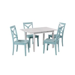 Deford 5 Piece Extendable Solid Wood Dining Set
