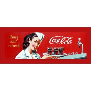 Coca-Cola Waitress Stretched Vintage Advertisement on Canvas By Trademark Fine Art
