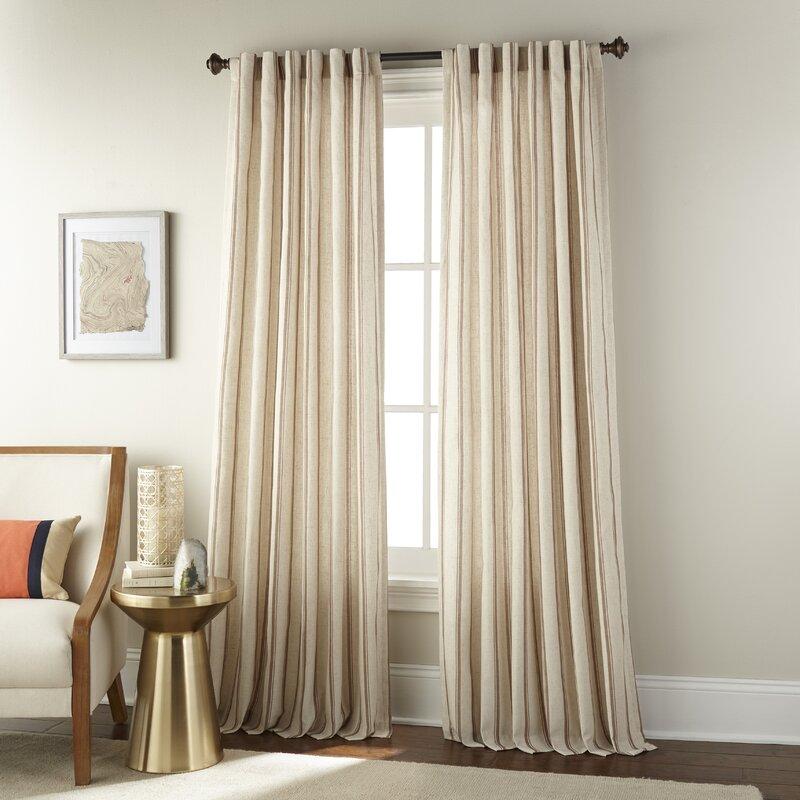 Three Posts Hadassah Vertical Stripe Rod Pocket Single Curtain Panel Reviews Wayfair
