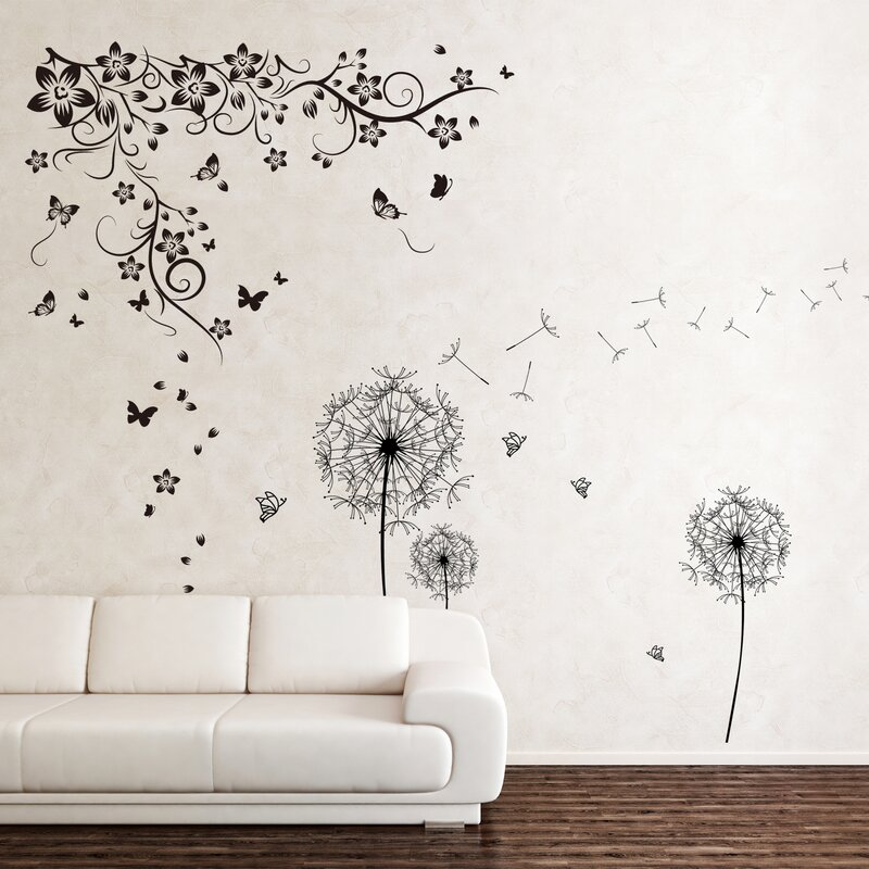 New Huge Butterfly Vine And Dandelion Wall Decal