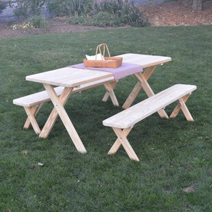 Loon Peak Saratoga Pine Cross-leg Picnic Table with 2 Benches