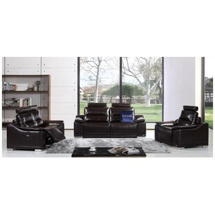 Orren Ellis Oak Brook Reclining 3 Piece Leather Living Room