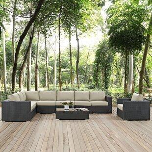 Brayden Studio Tripp 7 Piece Patio Sunbrella Sectional Set with Cushions
