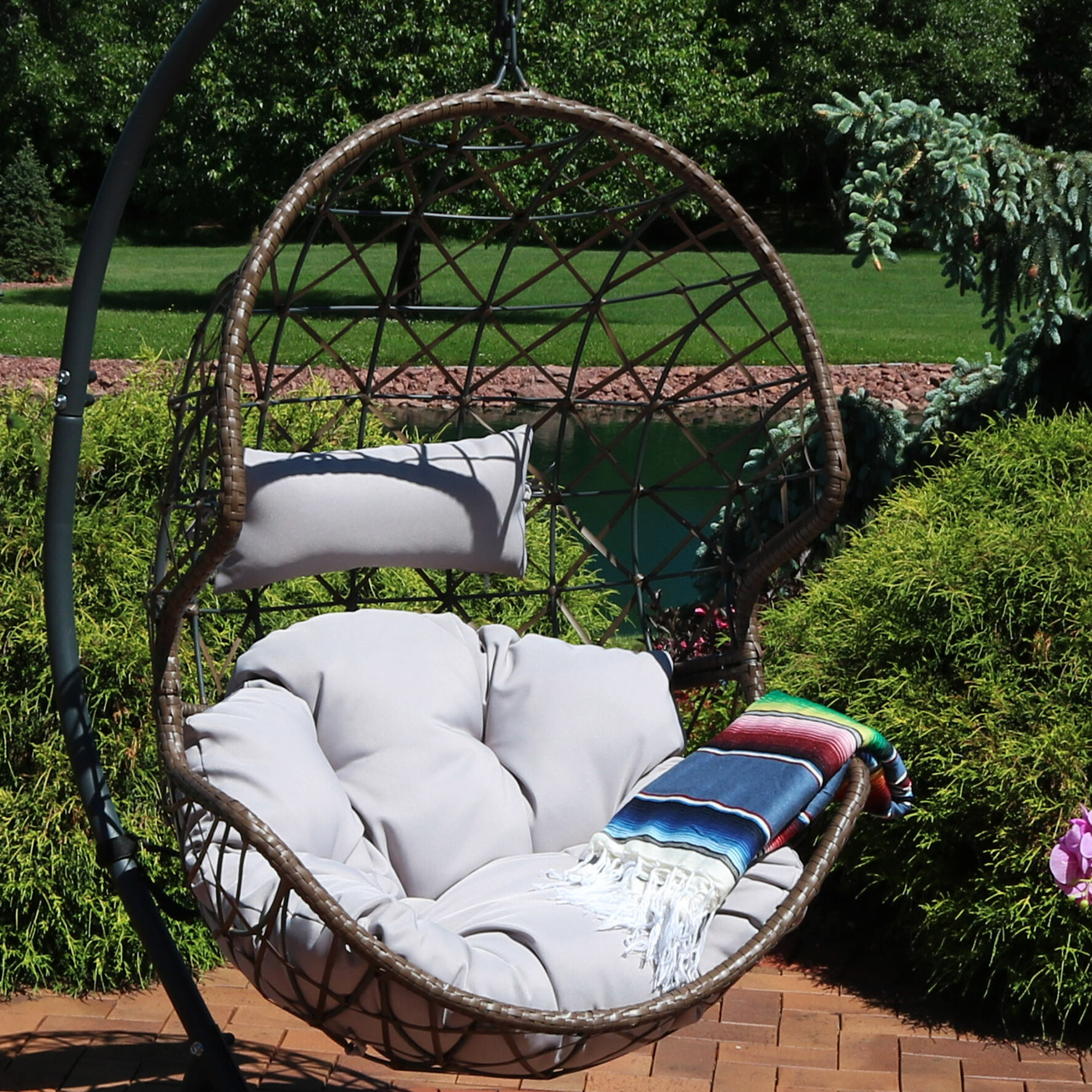 Cushions Garden Outdoors Huve Hammock Chair Cushions Hanging Egg Swing Seat Cushion Hanging Chair Back With Pillow For Indoor Or Outdoor Garden Patio Yard Solid Color