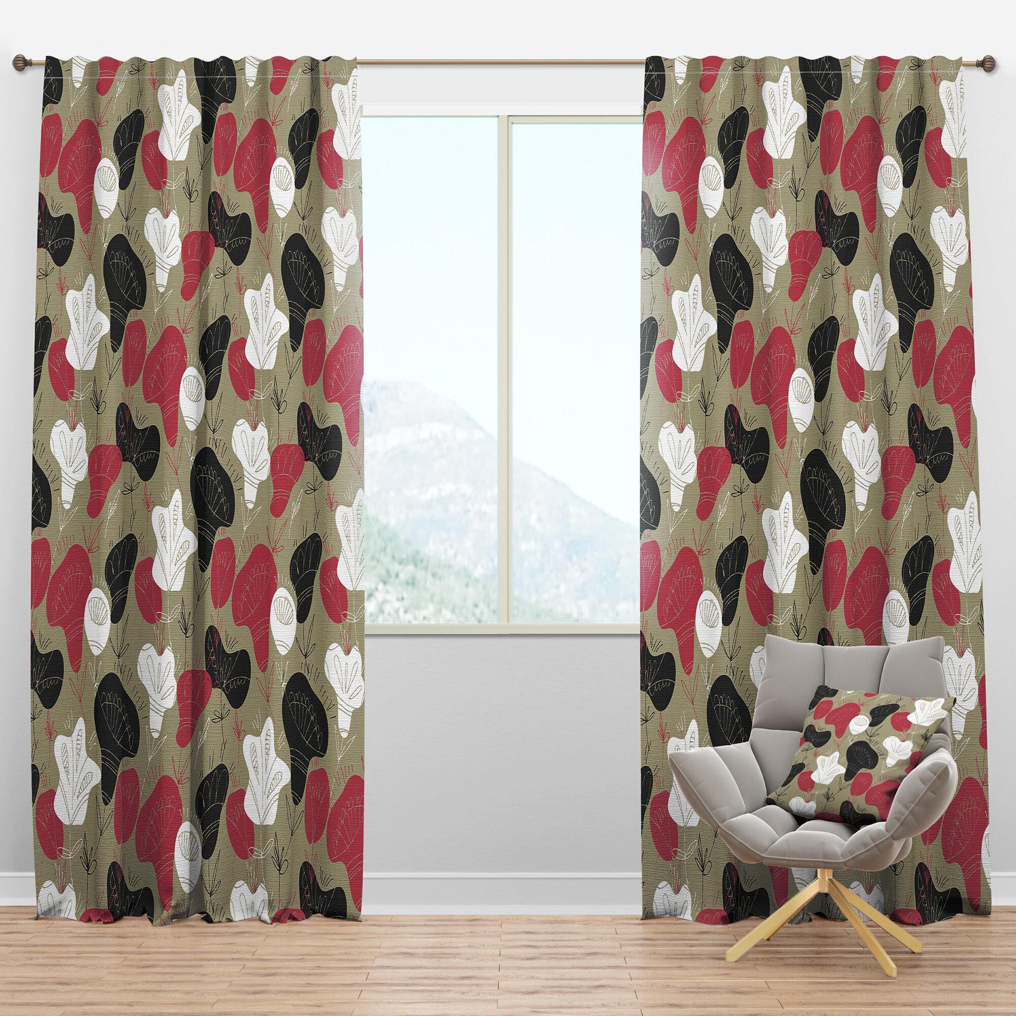 Designart Mid Century Folk Hand Drawn Semi Sheer Thermal Rod Pocket Curtain Panels Wayfair