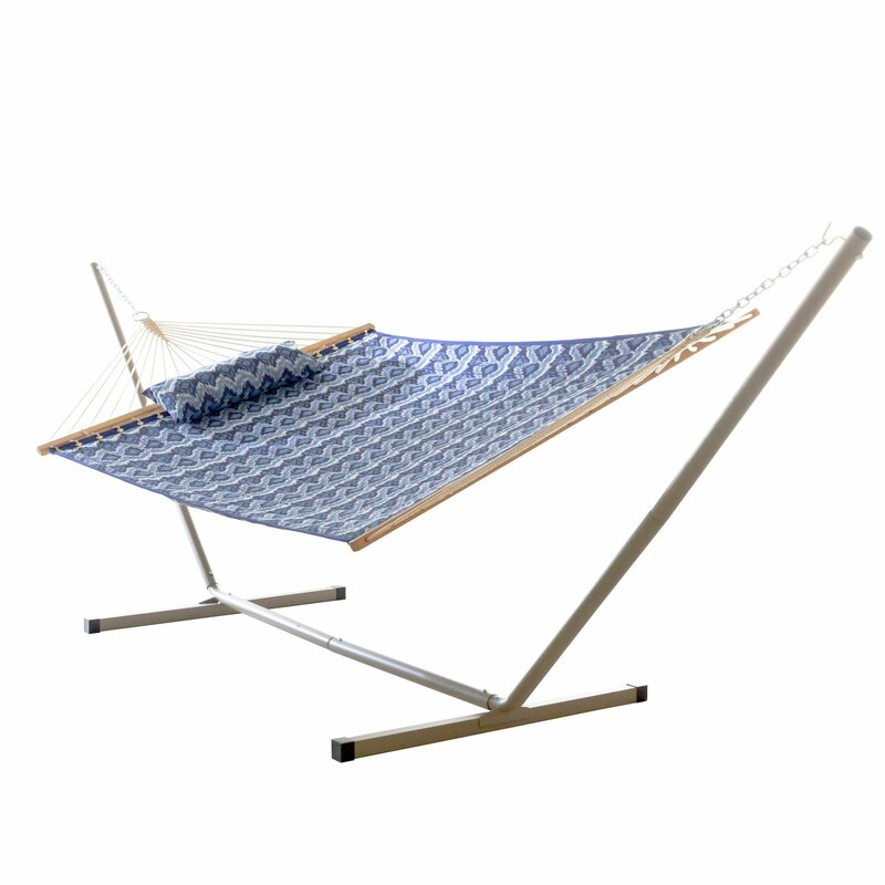 Sol 72 Outdoor  Amaryllis Quilted Tree Hammock with Stand Color: Ikat