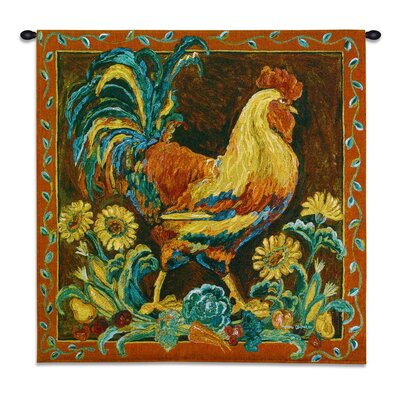 Rooster Rustic BW Tapestry Fine Art Tapestries