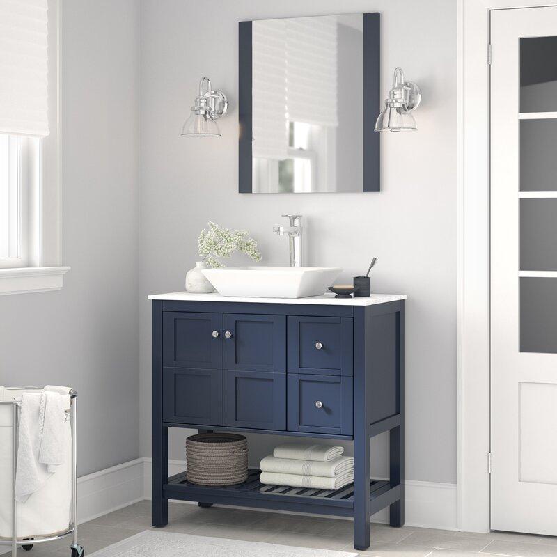Three Posts Lakeville 35 Single Bathroom Vanity Set With Mirror Wayfair