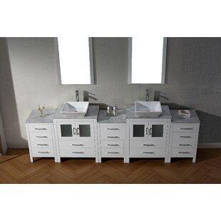 Cartagena 109 Double Bathroom Vanity Set with White Marble Top and Mirror by Mercury Row